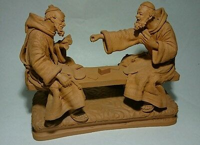 Terracotta Grasso Figure of Monks Playing Cards, Made in Italy . FREE UK POSTAGE
