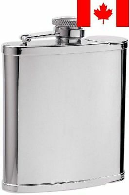 """Visol """"Two Shot Cups"""" Stainless Steel Hip Flask, 6-Ounce, Chrome"""