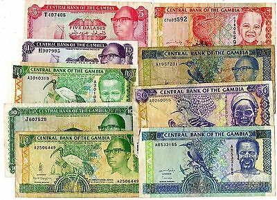 Gambia 9 Different Banknotes 1970's - 1990's