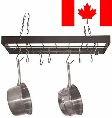 Fox Run Square Pot Rack with Chrome Chains and Hooks, Black