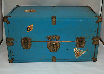 """Historic1930's Doll Trunk-Metal-16""""x 9""""x 9"""" 16-Lined  Paper-Wood Frame-Stickers"""