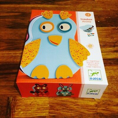 Wooden magnetic animal puzzle/game in a tin box (Inzebox Animo) by djeco