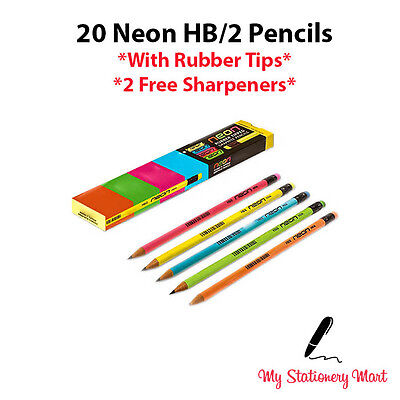 Pack of 20 NEON HB Pencil Eraser Rubber Tipped HB Pencils with 2 FREE Sharpeners