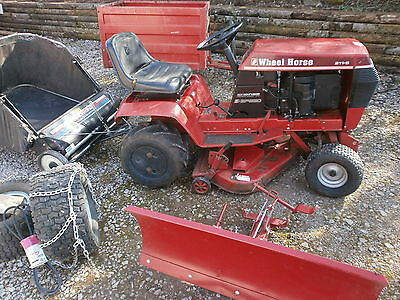 wheel horse lawn tractor 211 ride on mower grass collector trailer snow plough