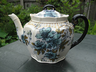Antique Rare Keeling & Co Late Mayers Flow Blue&Gold Floral Teapot  c.1890s