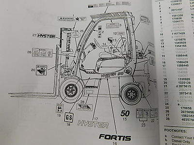 Hyster Fortis H60FT Forklift Service Parts Manual Maintenance Book (E33-2233)