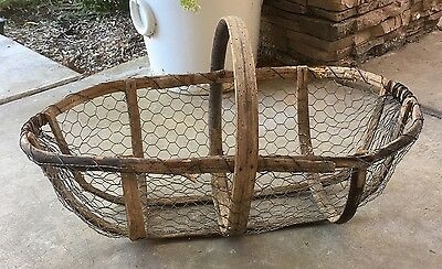 Charming Rare Large Primitive Vintage French Bentwood and Wire Gathering Basket