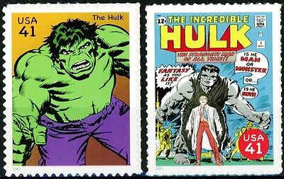The Incredible Hulk Set of 2 Scarce MNH US Postage Stamps Scott's 4159B & 4159L