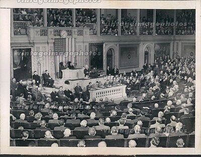 1948 President Harry Truman Rostrum State Union Message Congress Press Photo