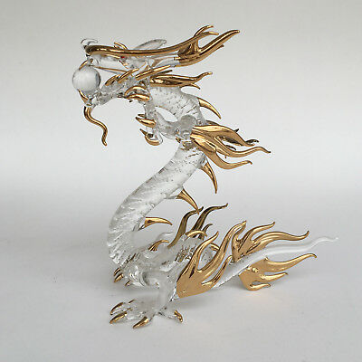 Standing Dragon Glass Figurines Golden Painted Lucky Item Home Gift Decoration