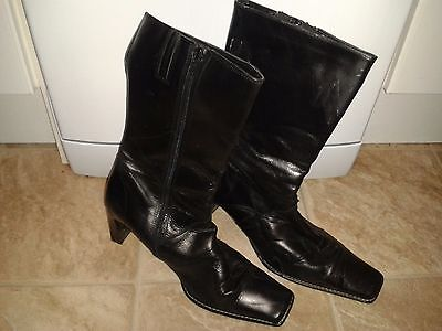 Clarks black Leather, Mid calf  Heel  zip Up Boots Size 7 uk 99P no reserve