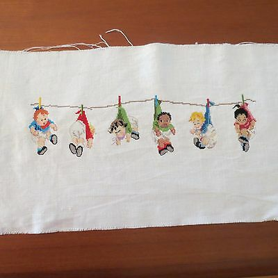 VTG Babies in Diapers ClothesPinned Hanging Clothesline. Fine Micro needlepoint.