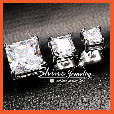 Sterling Silver Lab Ct Diamond Mens Ladies Valentine Square Stud Earrings Gift