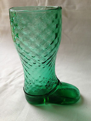 Vintage Green Glass Boot Shaped Vase Glass 15,5 cm tall