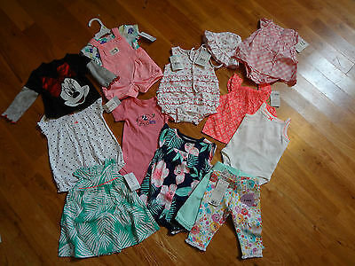 Baby Girls 3 Months 14 Pieces New Clothing Lot Carters Just One You Disney Kissy