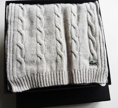 LACOSTE SCARF GREY WOOL boxed gift 76 x 11 inch BRAND NEW TAG rrp £79 MENS WOMEN