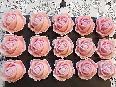 12 Sugar Paste Fondant Edible Pink Roses Cake Toppers- FREE DELIVERY!