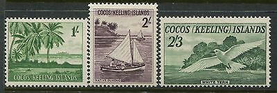 Cocos (Keeling) Islands 1963 1/, 2/, and 2/3d stamps mint o.g. hinged