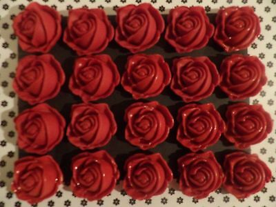 24 Red Sugar Paste Fondant Edible  Roses Cake Toppers FREE DELIVERY!