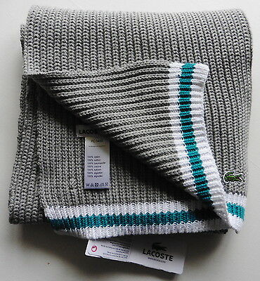 Lacoste Scarf Grey Cotton Long  Classic Croc  Brand New Tag Unisex  Mens Womens
