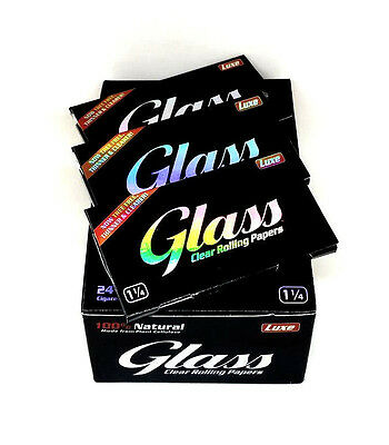 Luxe Glass Clear Rolling Papers 1 1/4 Size 3 Packs 50 Leaves Per Pack USA