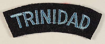 TRINIDAD - R.A.F. Officer's WW2 Nationality Embroidered Shoulder Title Badge
