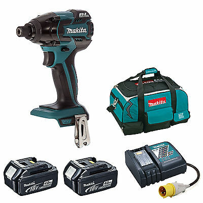 MAKITA DTD129 IMPACT DRIVER 2 BL1840 BATTERIES DC18RC 110v CHARGER 4 PIECE BAG