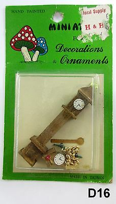 "Vintage Miniature Grandfather Clock 2"" New in Pkg Handpainted D16"