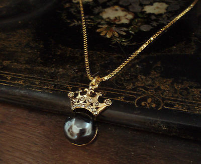 Vintage Gold Crown with Grey Pearl and Black Diamond Crystals Necklace Pendant