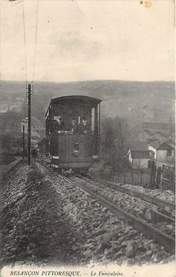 CPA 25 BESANCON PITTORESQUE LE FUNICULAIRE (TRAMWAY GROS PLAN (cliché pas couran