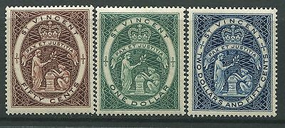 St. Vincent 1955 high values 50 cents, $1, & $2.50 unmounted mint NH