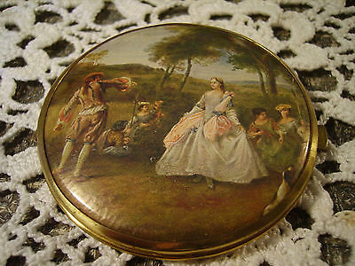 Vintage Double Mirror Magnifying Compact West Germany Romantic Victorian Scene
