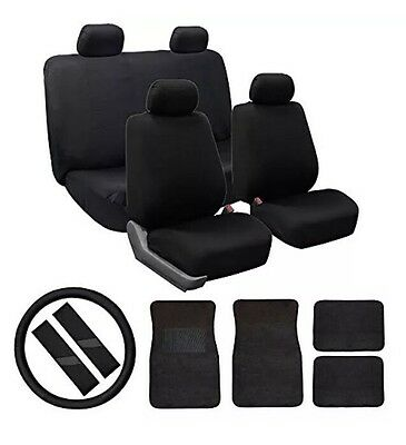 FH Group Modern Flat Cloth Car Seat Covers Combo Set Accessories BLK See Detail