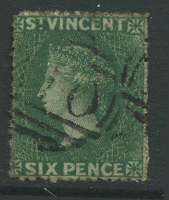 St. Vincent QV 1862 6d dark green used