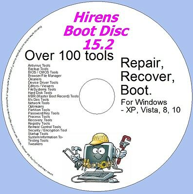 Windows Utilities For Recovery & Repair  Hirens Disc 15.2 - XP, VISTA, 7, and 8