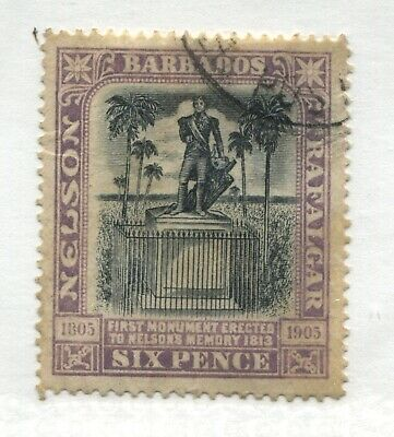 Barbados 1906 Nelson 6d lilac & black CDS used