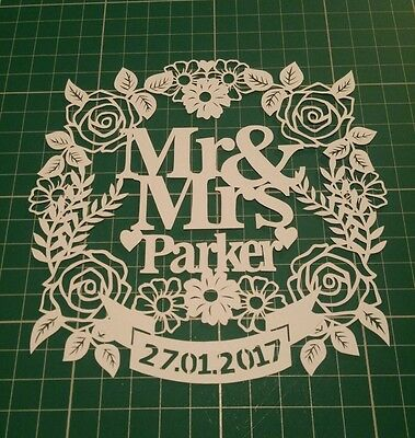 Papercut Art Personalised Hand Crafted Mr & Mrs Paper Cut Wedding Gift