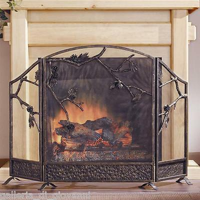 Rustic Pinecone Fireplace Screen  Pine Lodge Western Country