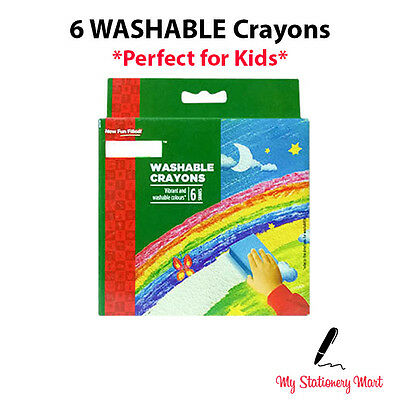 6 x WASHABLE Wax Crayons Pack Kids Pencil Set School Children Colouring Crayola