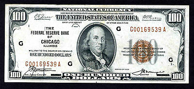 Us $100 National Currency Series 1929 Chicago - Circulated