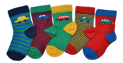 5 pairs of Baby Boys Car designs socks