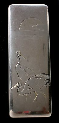 ANTIQUE JAPANESE cranes SILVER gift BOX signed