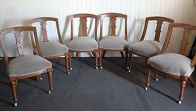 Set of 6 Antique carved scoop back Victorian dining chairs