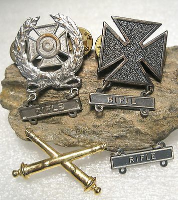 U.S. Army Rifle Marksman Medal Lot 2 Silver Filled w/ Crossed Cannons Pin