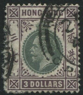Hong Kong 1926 $3 dark violet & green used Scott #145