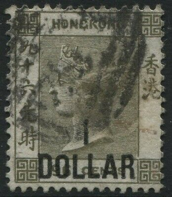 Hong Kong 1885 $1 surcharged on 96 cents olive gray used Scott #55
