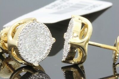 .27 CARAT YELLOW GOLD FINISH MENS WOMENS 9mm 100% REAL DIAMONDS EARRINGS STUDS