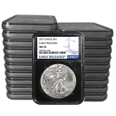 Lot of 20 - 2017 $1 American Silver Eagle NGC MS70 Early Releases Blue ER Label