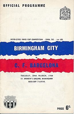FAIRS CUP FINAL 1960: Birmingham City v Barcelona