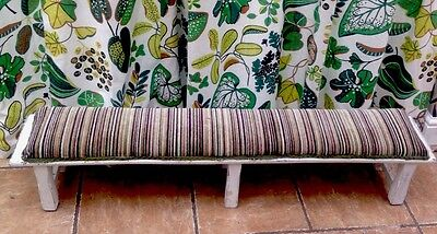 Long Vintage Stool /  Bench .upholstered Seat Greens Browns